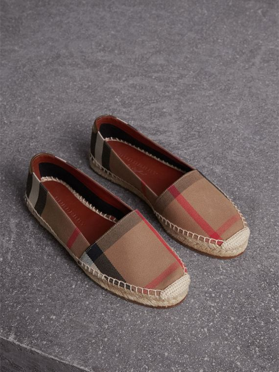 Check Linen Cotton Espadrilles in Dark Tan