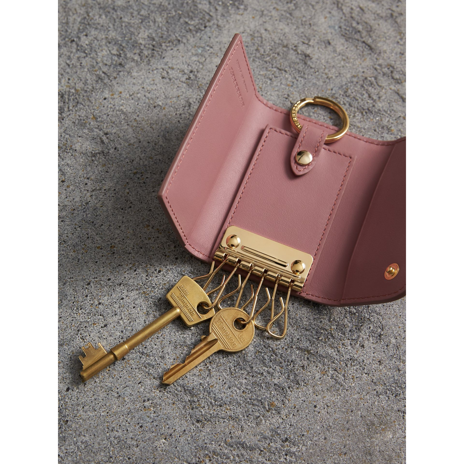 Grainy Leather Key Holder in Dusty Pink - Women | Burberry - gallery image 4