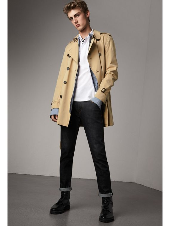 The Kensington – Mid-Length Heritage Trench Coat in Honey - Men | Burberry Canada