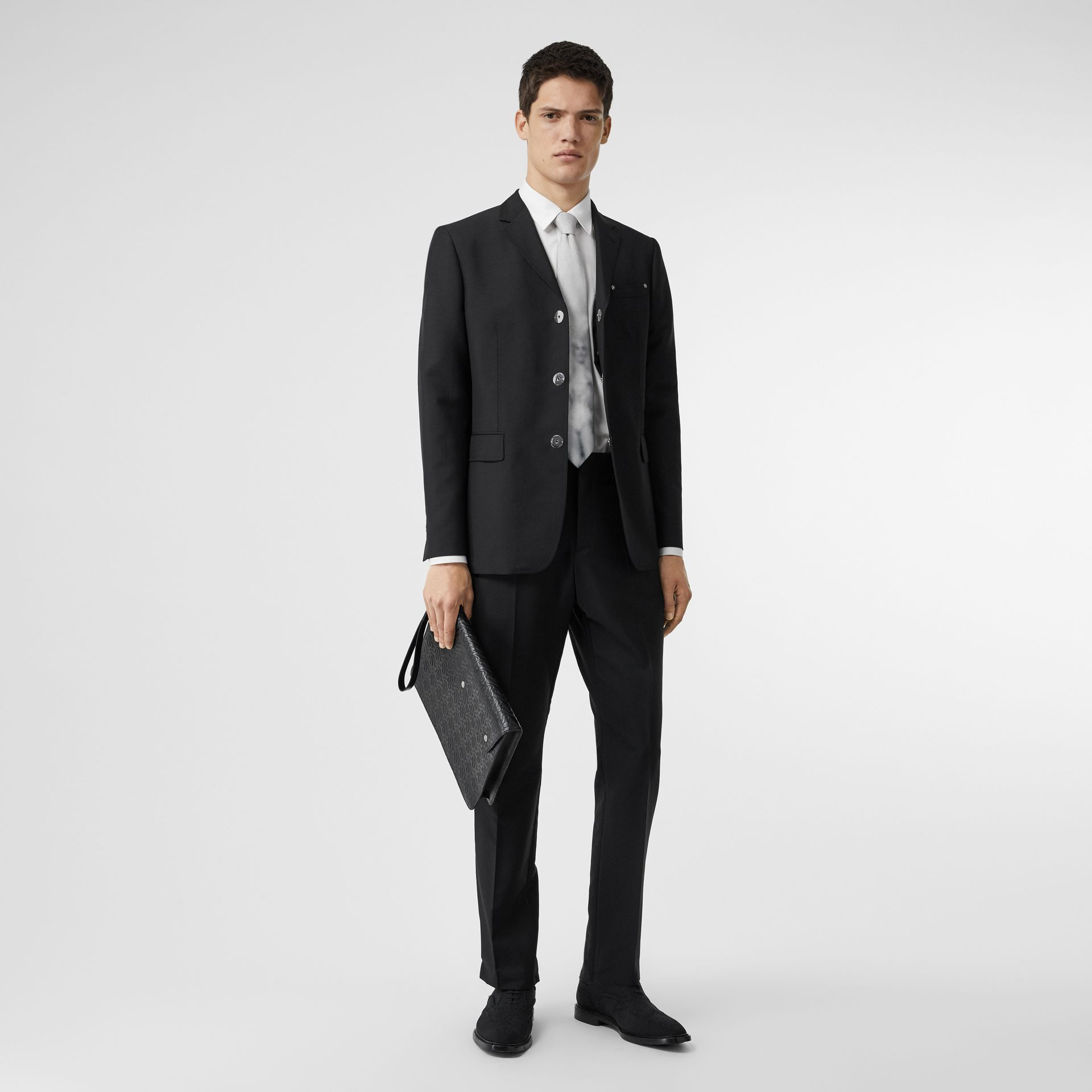 Slim Fit Press-stud Wool Mohair Tailored Jacket in Black - Men | Burberry - gallery image 0