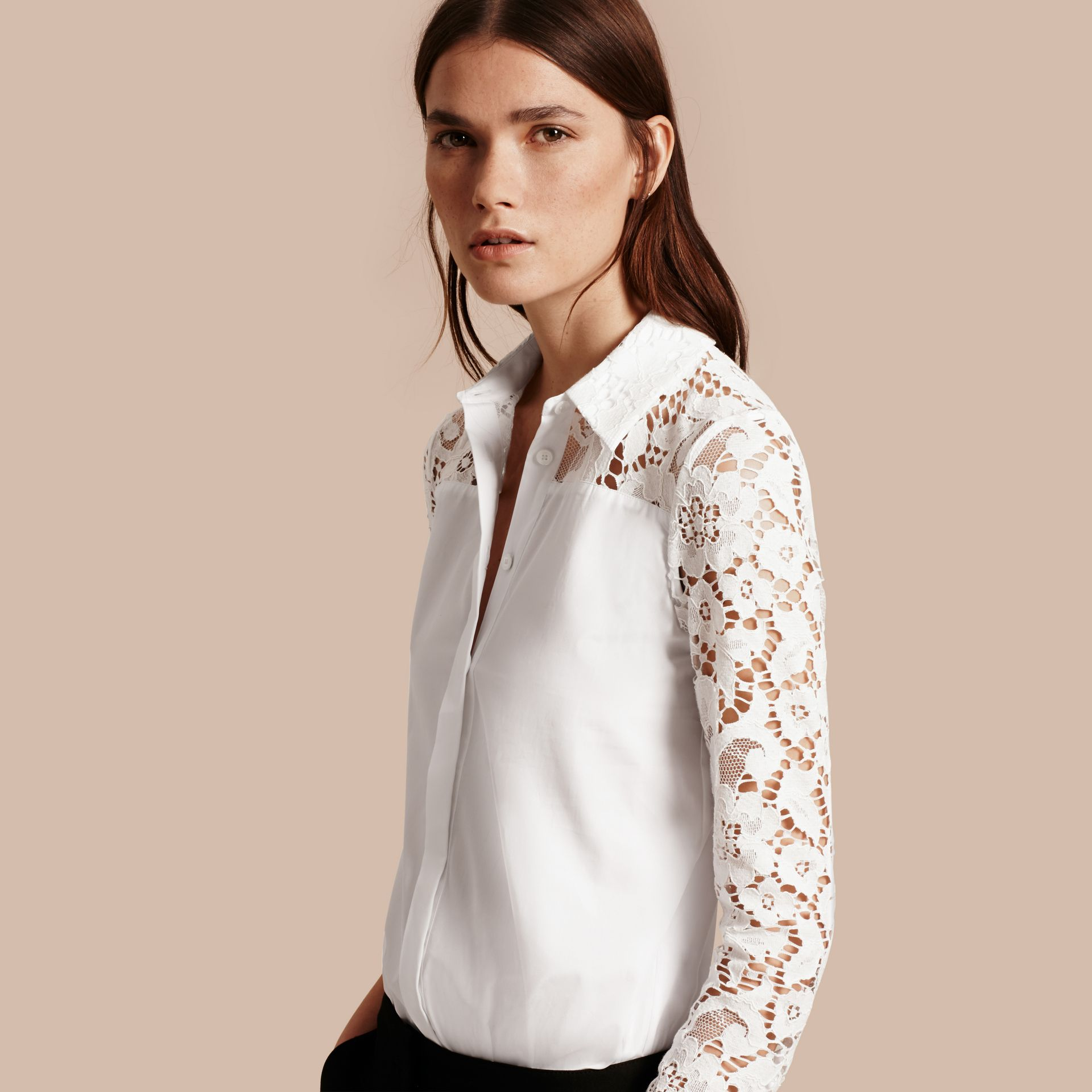 White Macramé Lace Detail Cotton Shirt - gallery image 1
