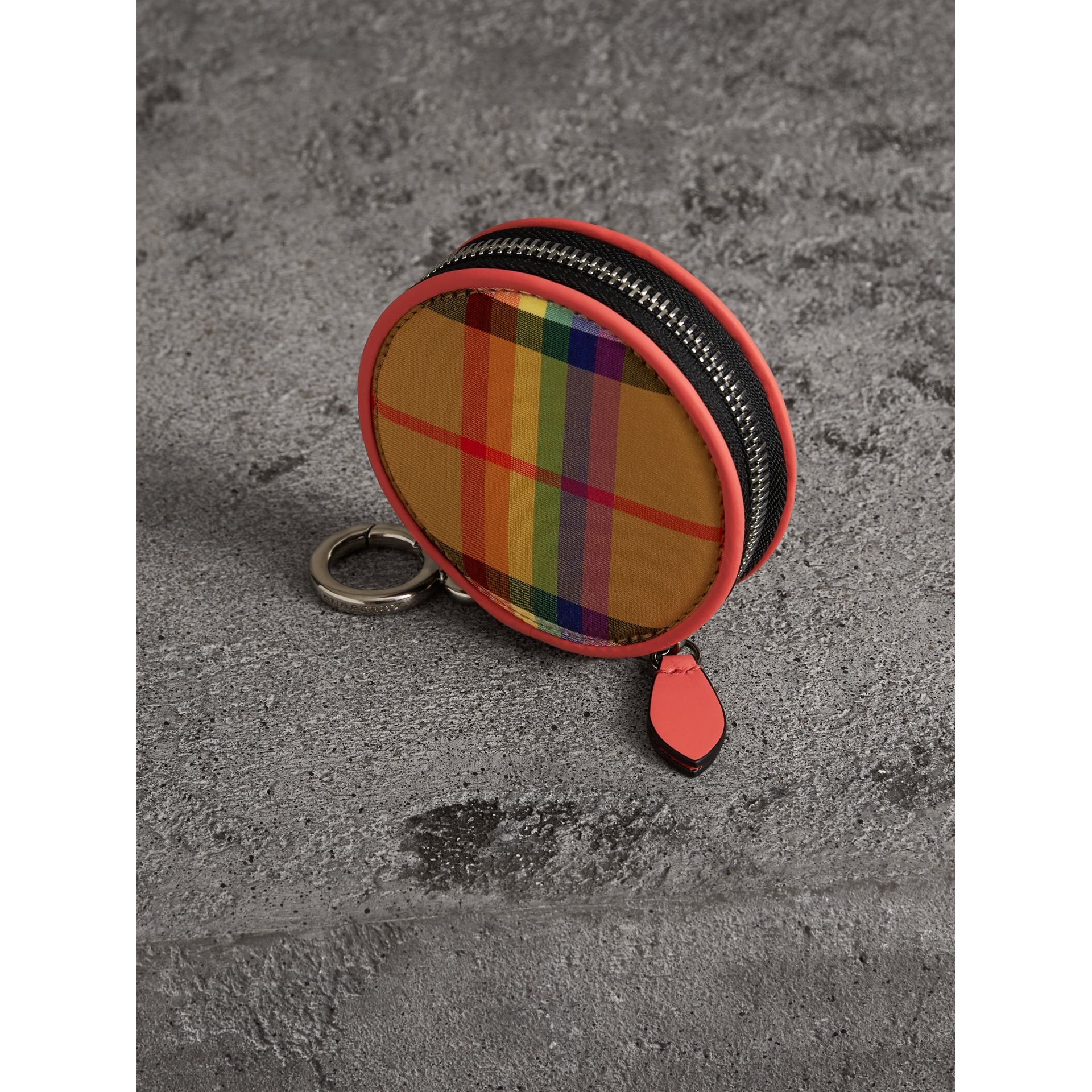 Rainbow Vintage Check Coin Case in Bright Peony | Burberry Australia - gallery image 2