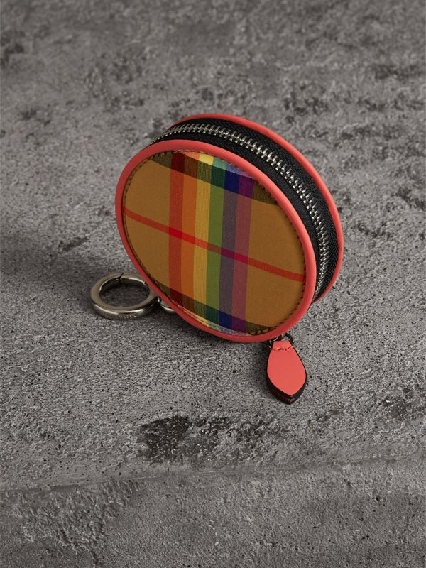 Rainbow Vintage Check Coin Case in Bright Peony | Burberry - cell image 2