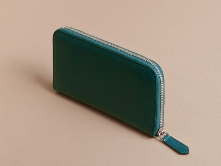 London Leather Ziparound Wallet in Dark Teal - Men | Burberry Singapore - cell image 4