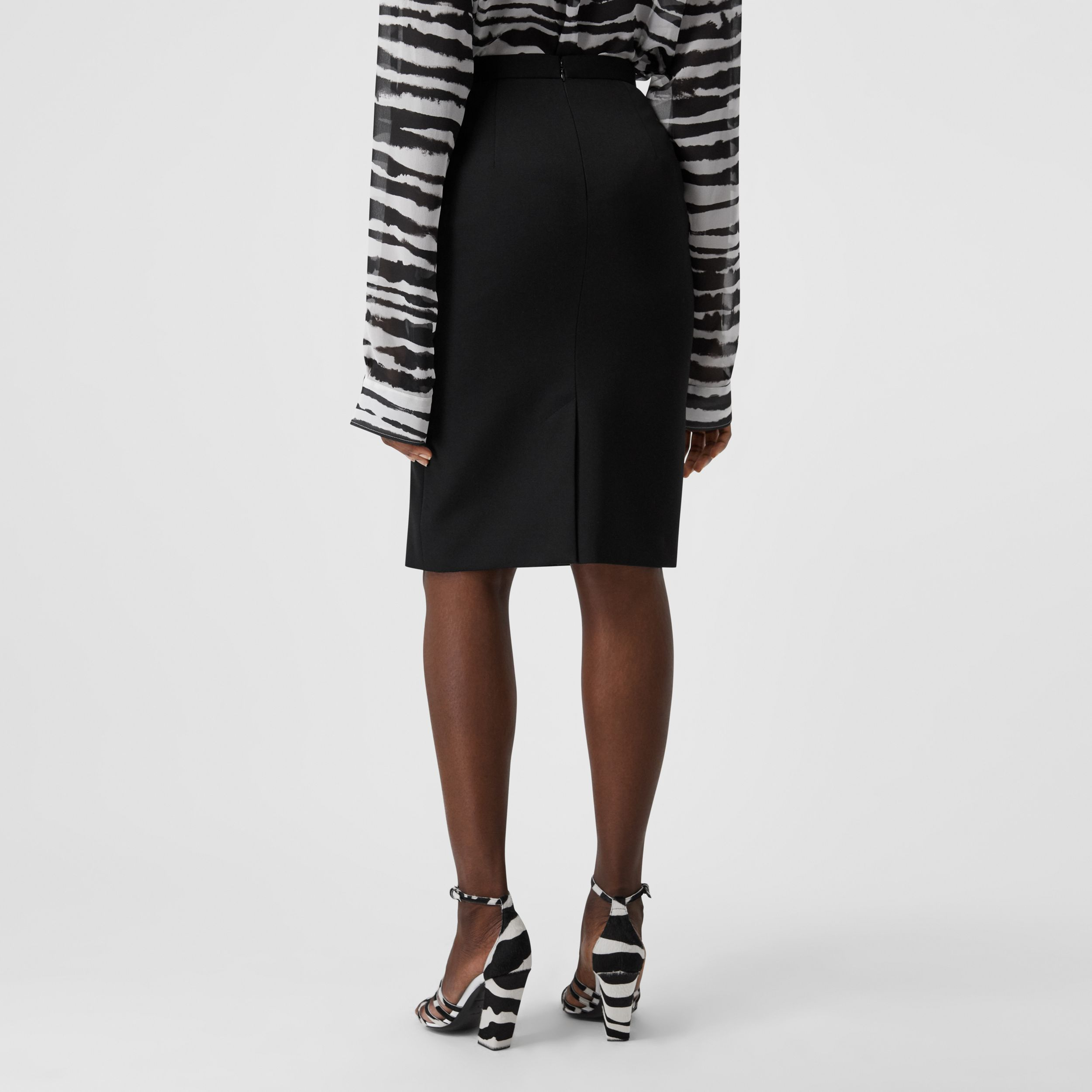 Grain De Poudre Wool Step-through Skirt in Black - Women | Burberry Australia - 3