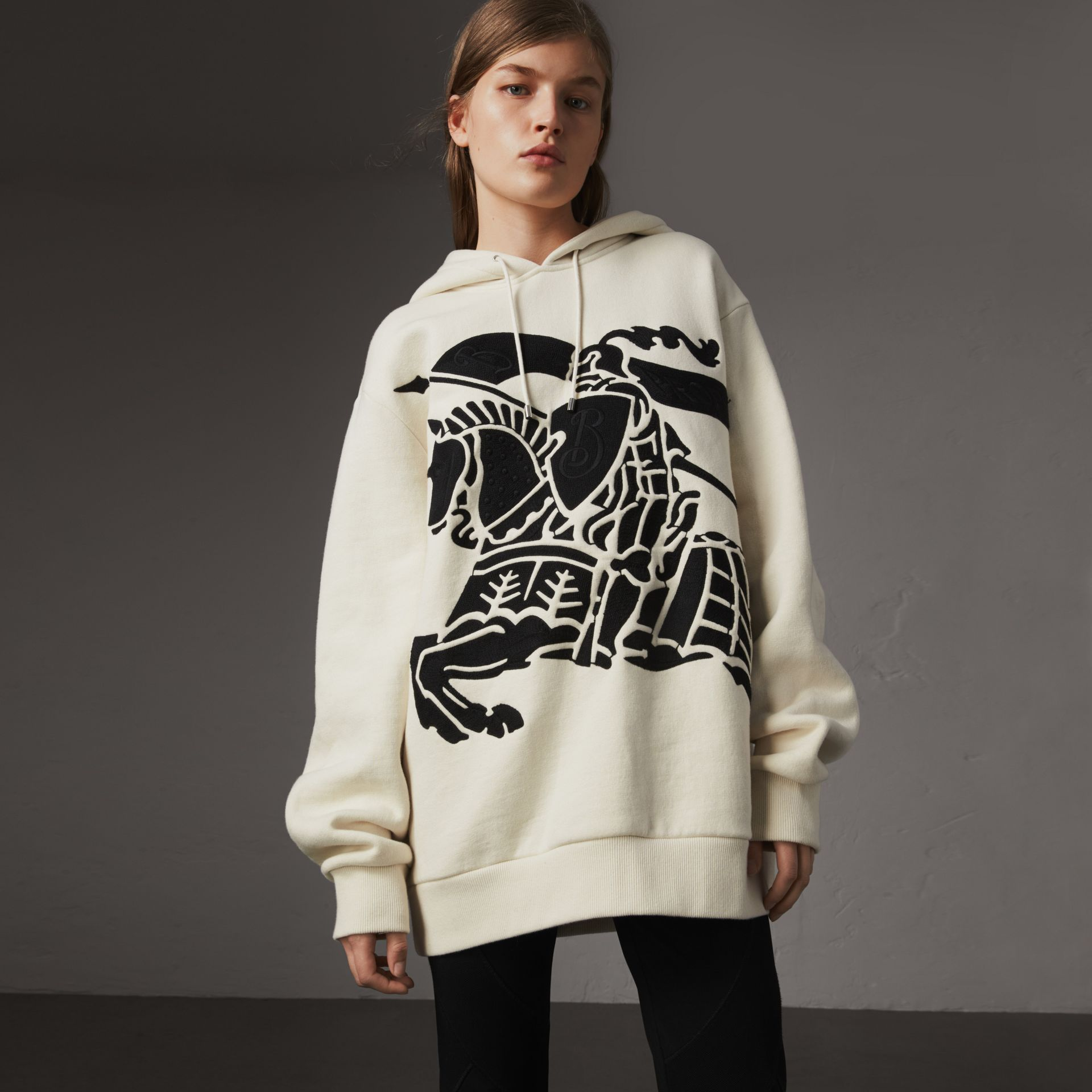 Equestrian Knight Device Cotton Hooded Sweatshirt in Natural White - Women | Burberry United Kingdom - gallery image 0