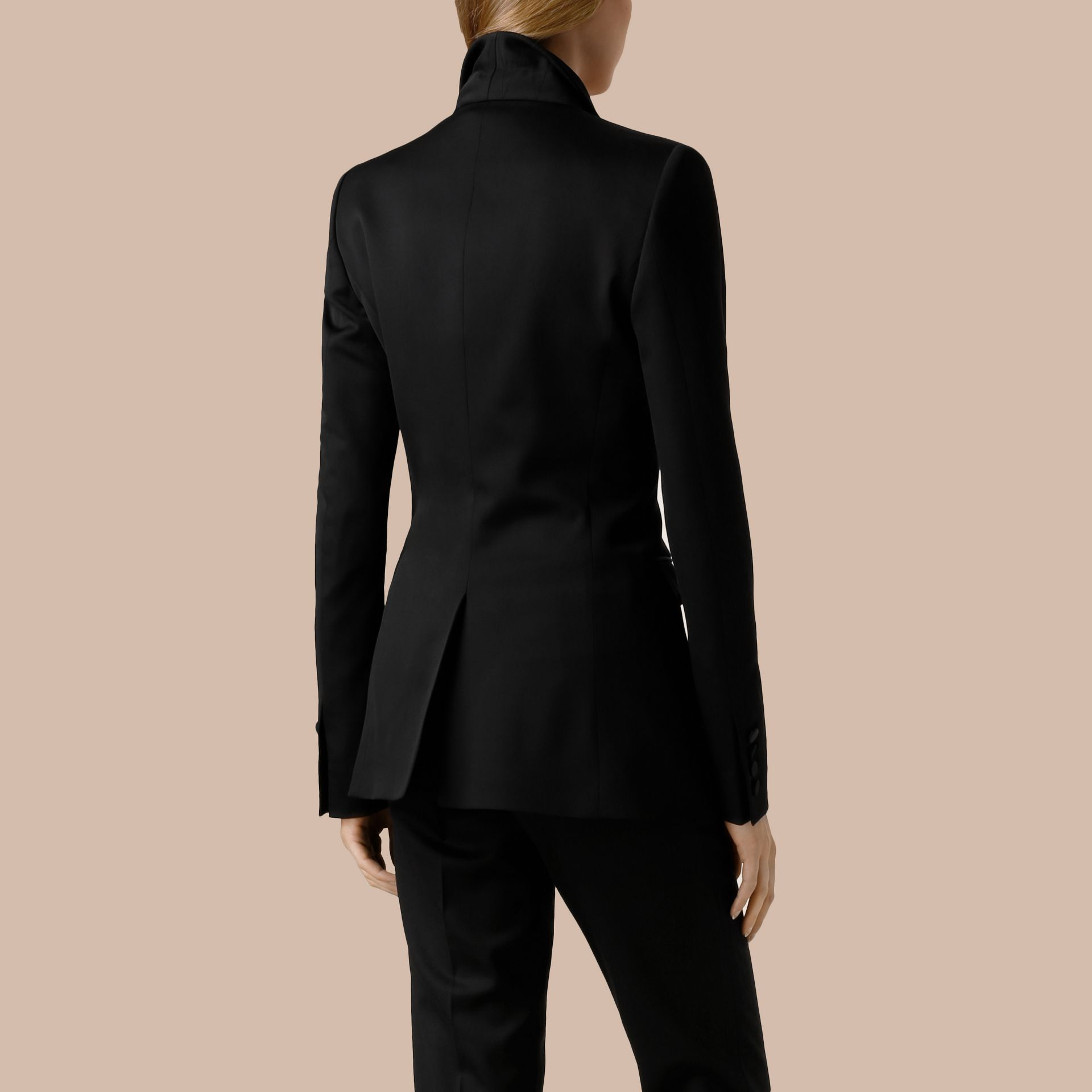 Black Stretch Wool Tuxedo Jacket - gallery image 2
