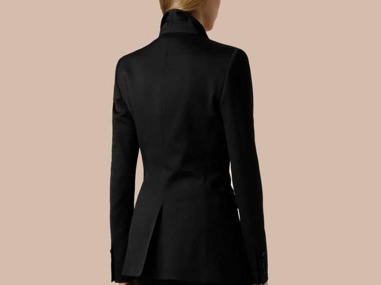 Black Stretch Wool Tuxedo Jacket - cell image 1