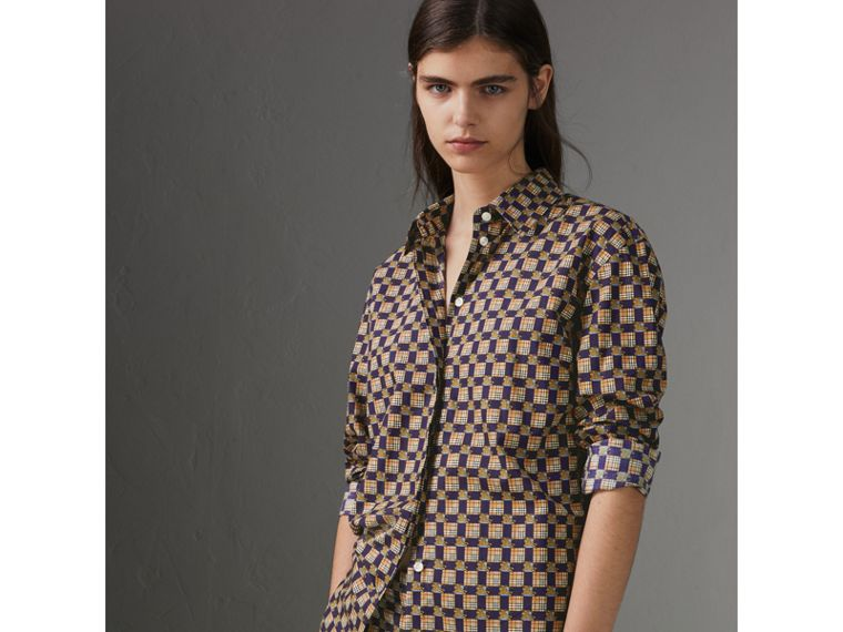 Tiled Archive Print Cotton Shirt in Navy - Women | Burberry - cell image 4