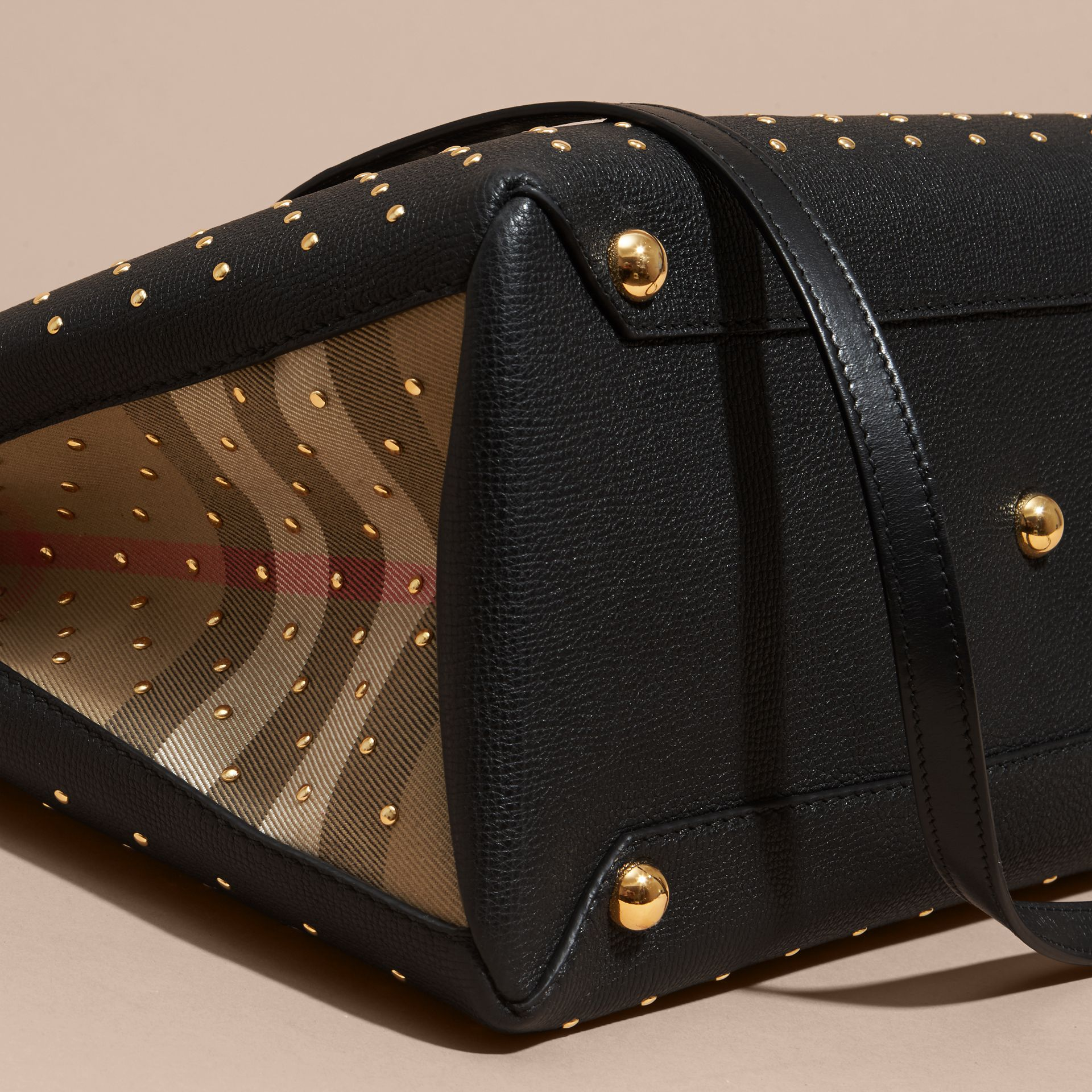 The Medium Banner in Riveted Leather and House Check Black - gallery image 7