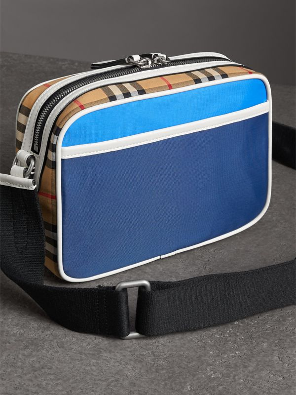 Vintage Check and Nylon Crossbody Bag in Deep Cerulean Blue | Burberry United States - cell image 2