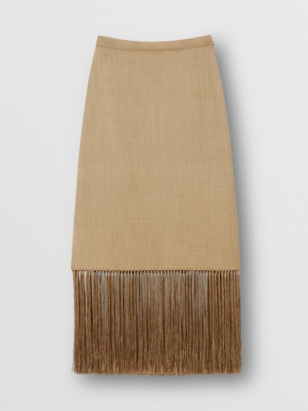 Fringed Wool Cashmere A-line Skirt in Pecan Melange - Women | Burberry - cell image 3