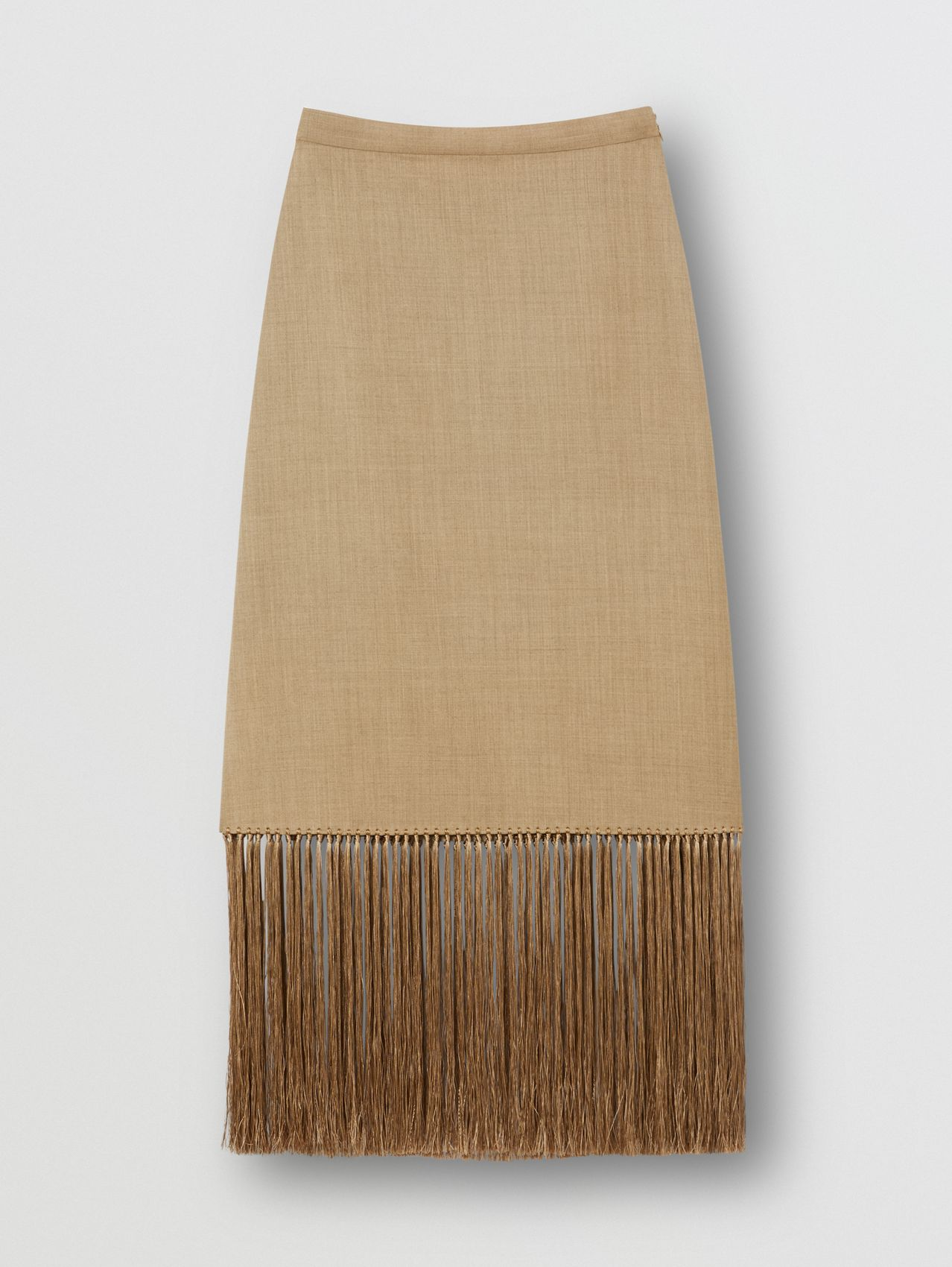Fringed Wool Cashmere A-line Skirt in Pecan Melange