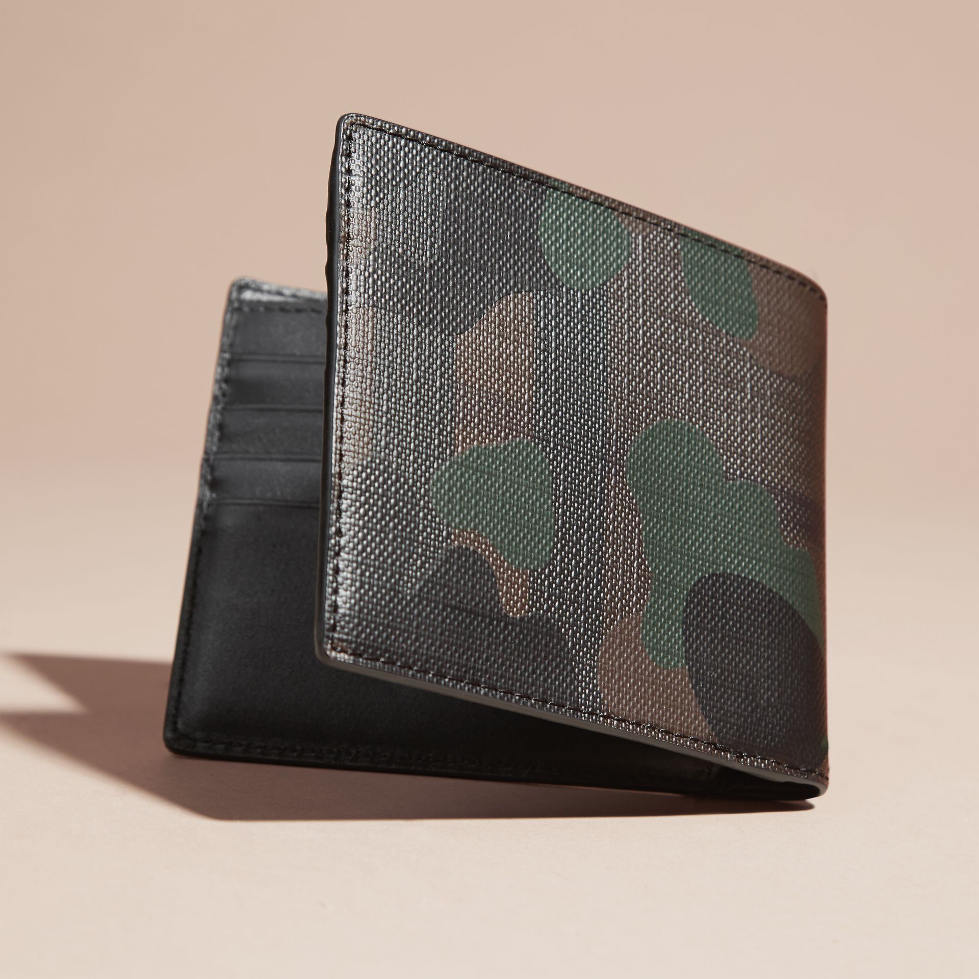 Chocolate/camouflage Camouflage and London Check Folding Wallet - gallery image 4