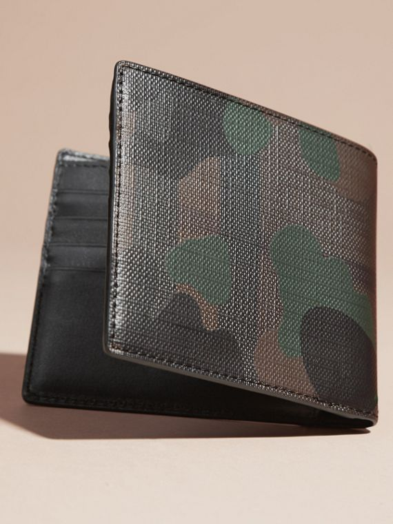 Chocolate/camouflage Camouflage and London Check Folding Wallet - cell image 3