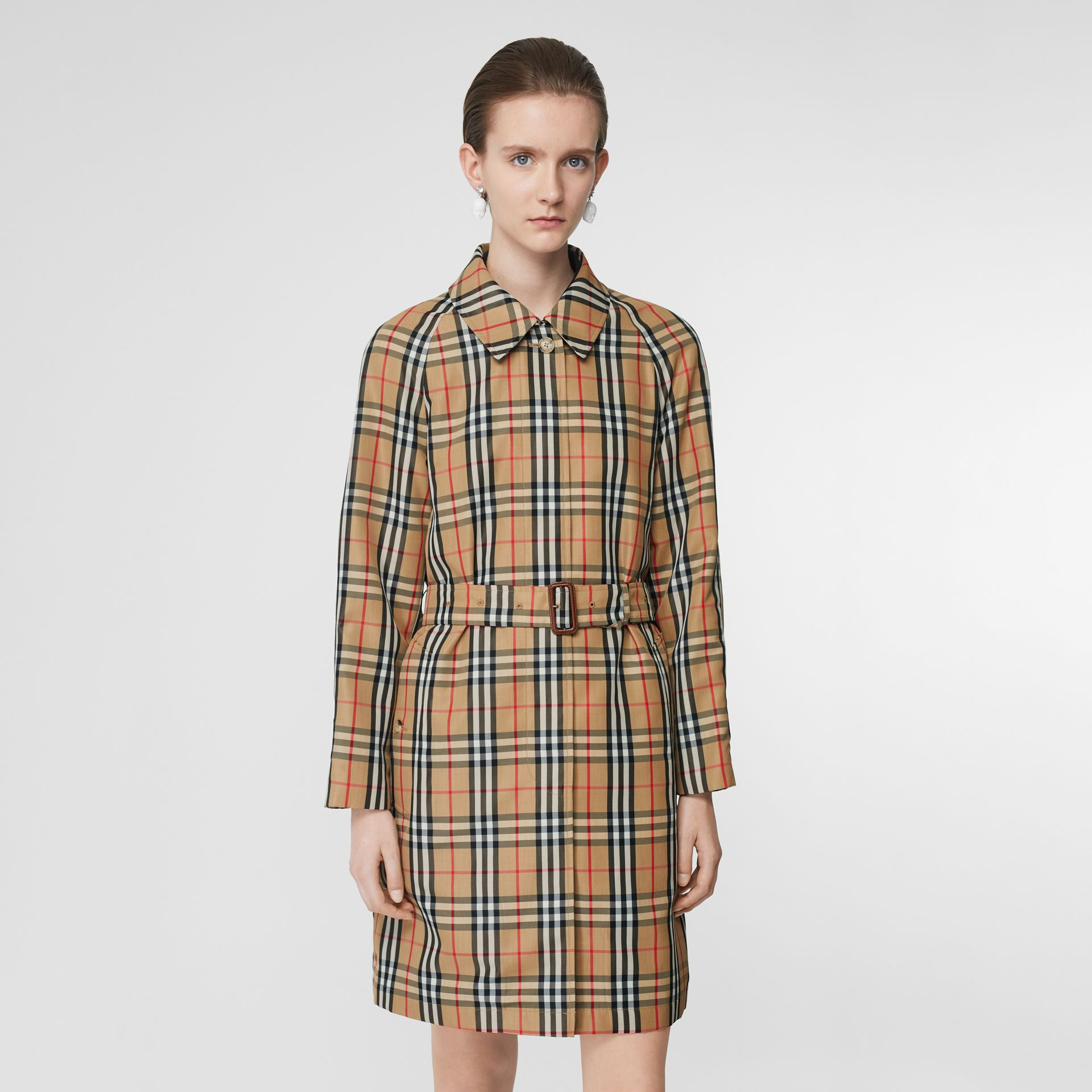 Vintage Check Nylon Belted Car Coat in Archive Beige - Women | Burberry United States - gallery image 5