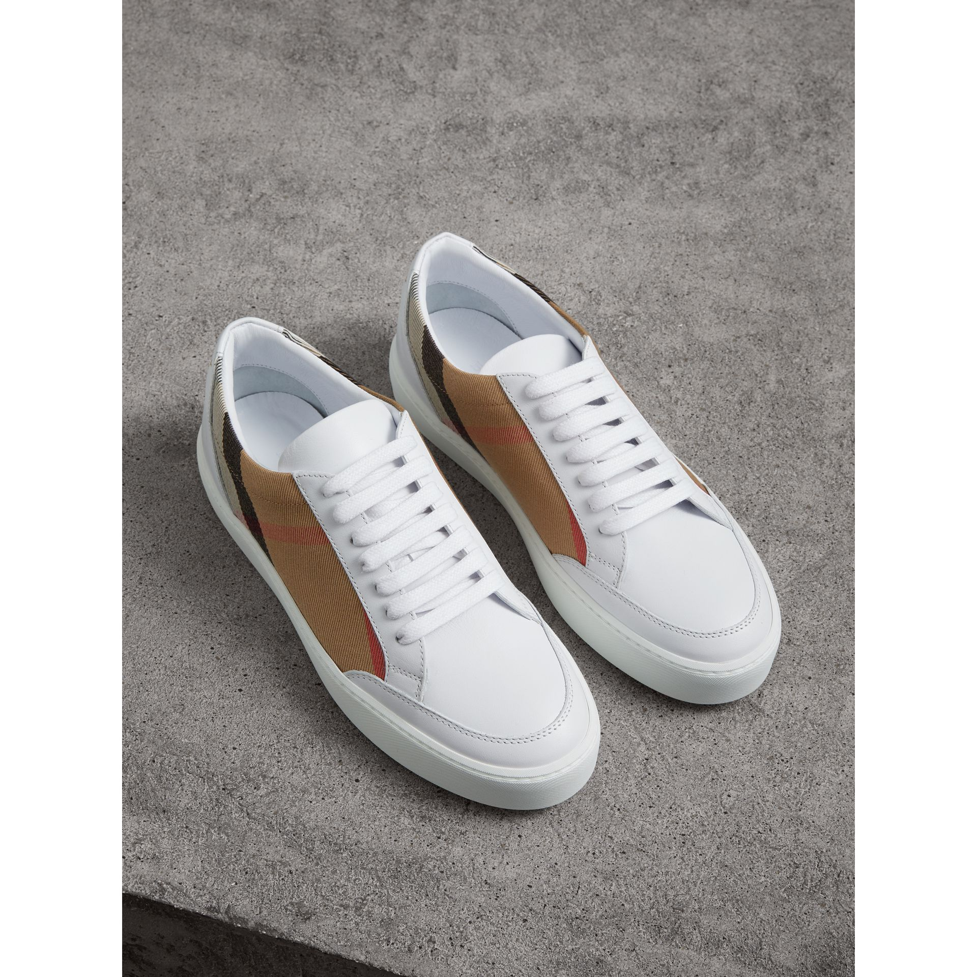 Check Detail Leather Sneakers in House Check/ Optic White - Women | Burberry - gallery image 0