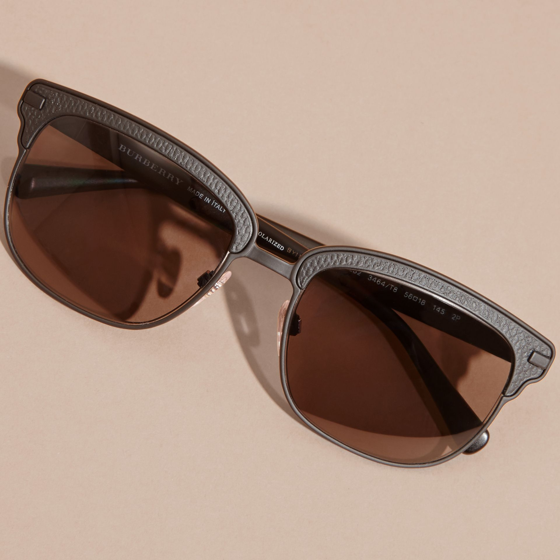 Textured Front Square Frame Sunglasses in Black - Men | Burberry United States - gallery image 4
