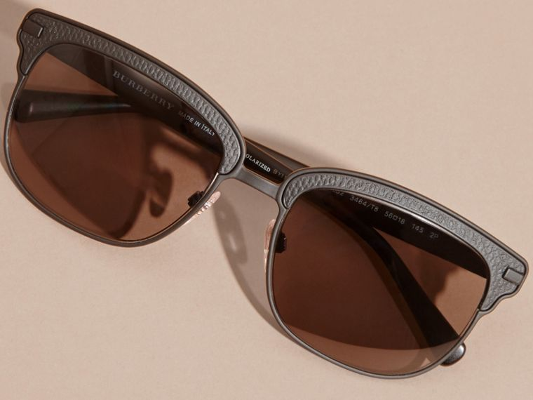 Textured Front Square Frame Sunglasses in Black - Men | Burberry United States - cell image 4
