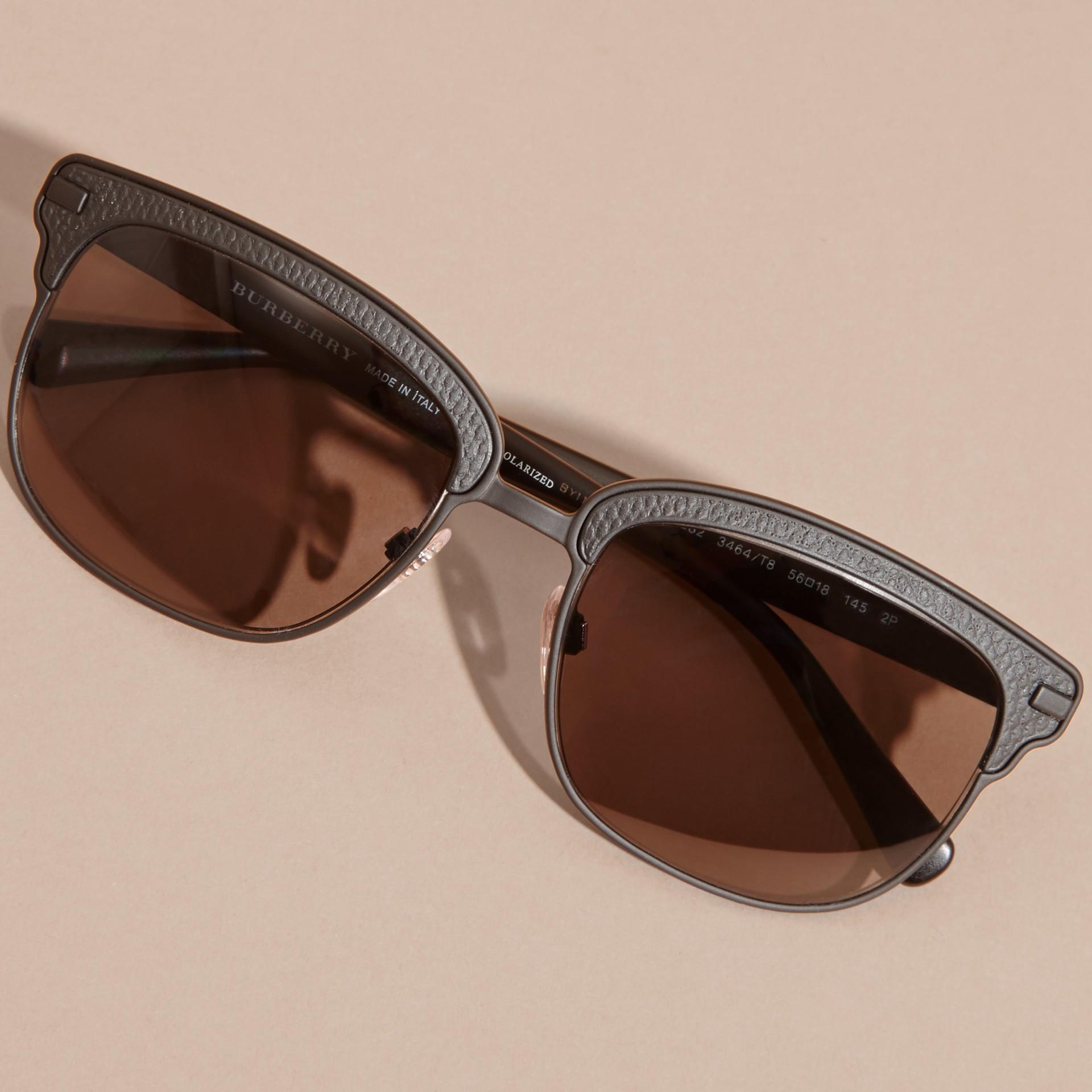 Burberry Black Frame Glasses : Textured Front Square Frame Sunglasses in Black - Men ...