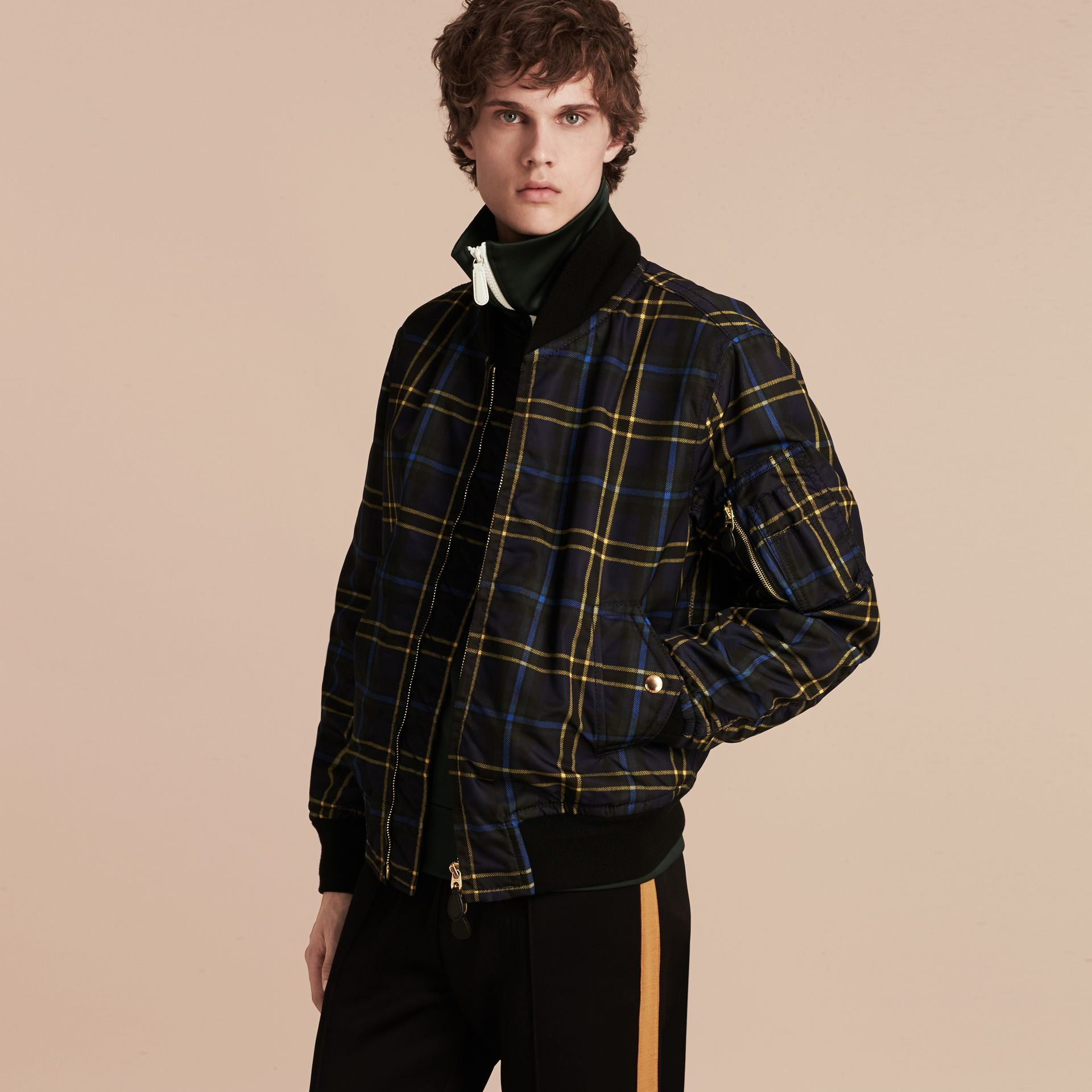 Navy Check Oversize Bomber Jacket - gallery image 6