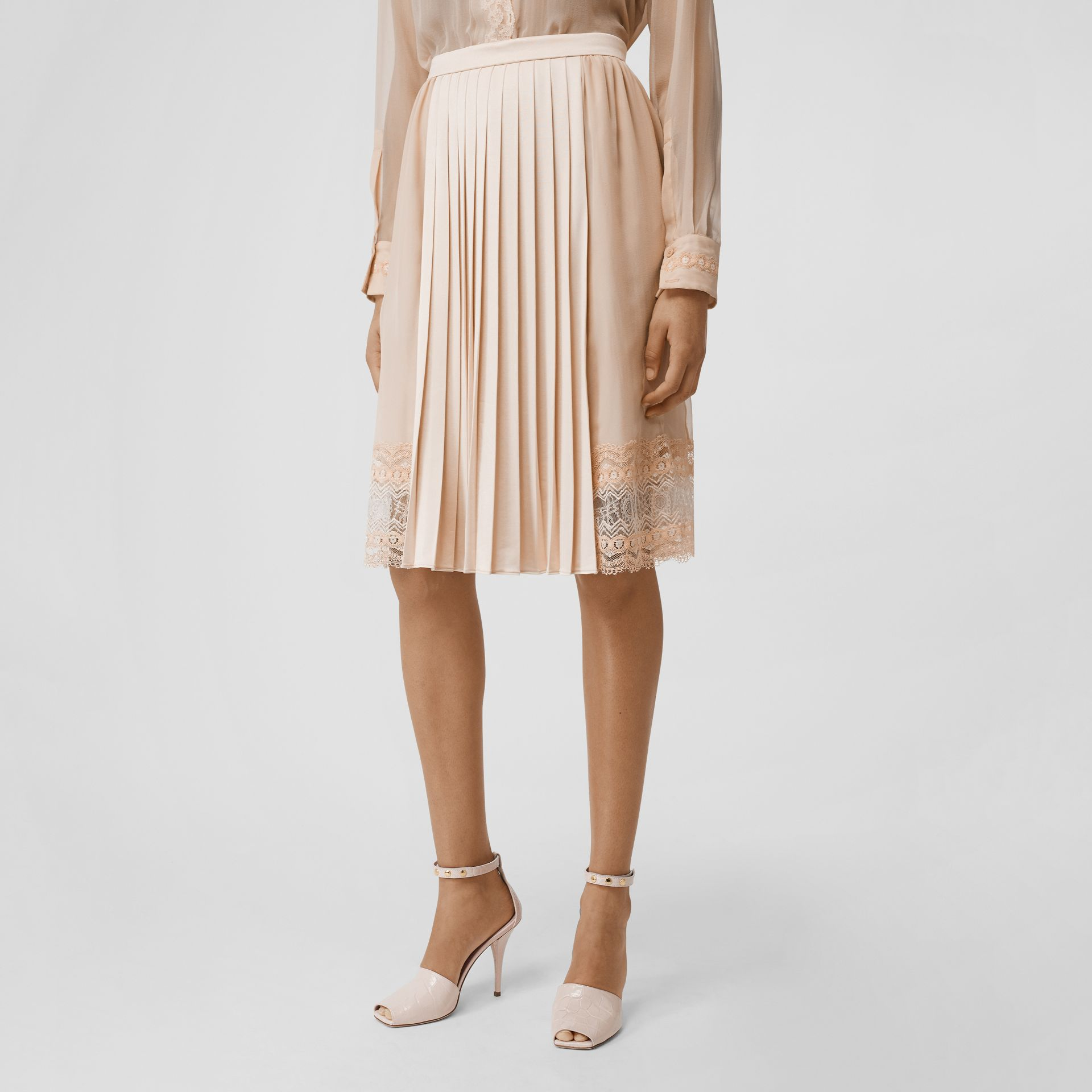 Lace Detail Silk Panel Pleated Skirt in Soft Peach - Women | Burberry - gallery image 2