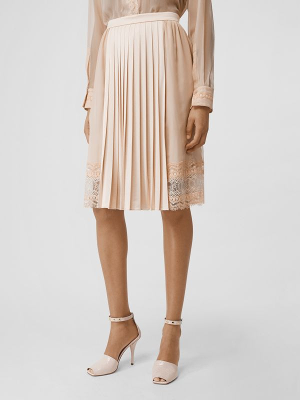Lace Detail Silk Panel Pleated Skirt in Soft Peach - Women | Burberry - cell image 2