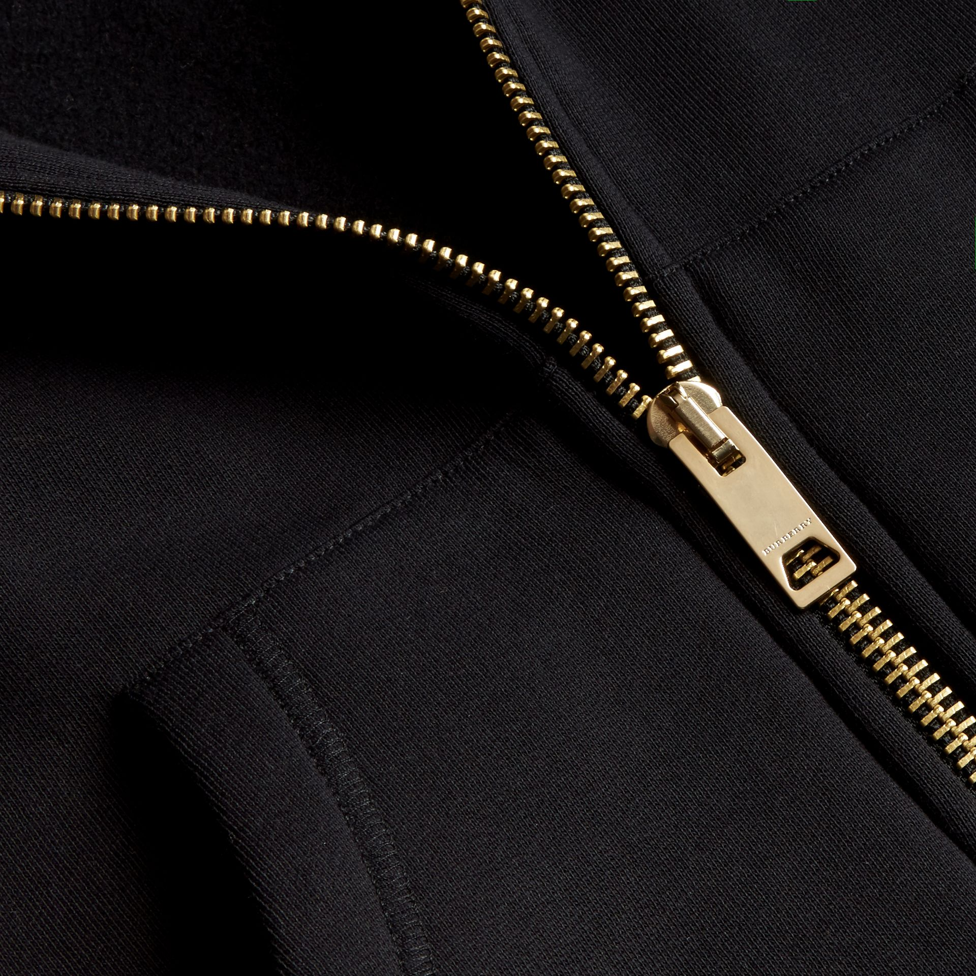 Zip-front Oversize Cotton Jersey Sweatshirt with Hood in Black - Women | Burberry - gallery image 2