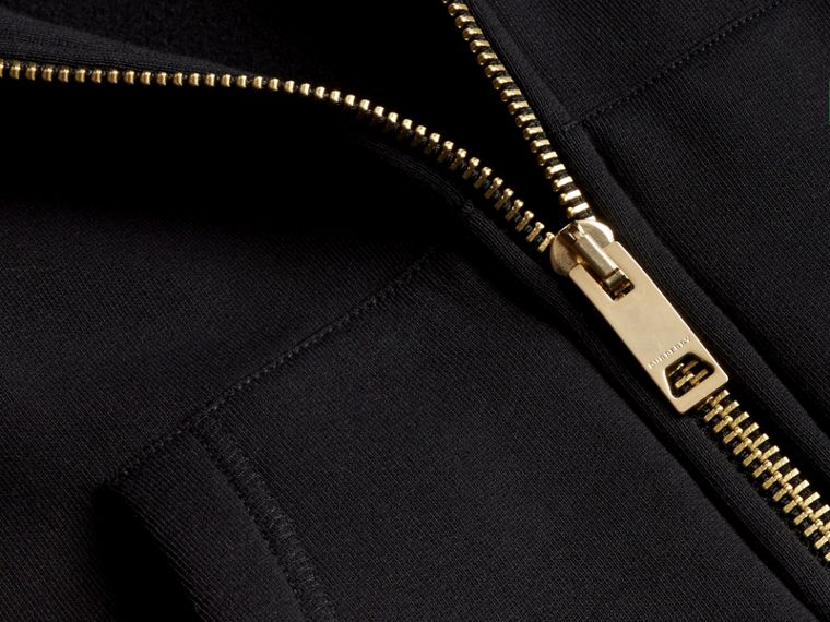 Zip-front Oversize Cotton Jersey Sweatshirt with Hood in Black - Women | Burberry - cell image 1