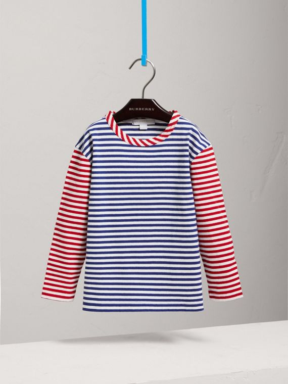 Contrast Stripe Cotton Top in Cobalt Blue - Girl | Burberry - cell image 2
