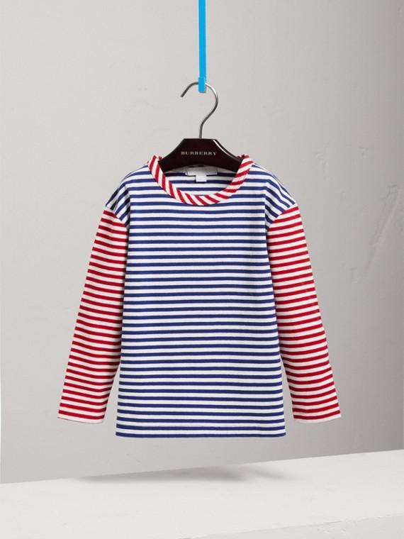 Top in cotone con righe a contrasto (Blu Cobalto) - Bambina | Burberry - cell image 2