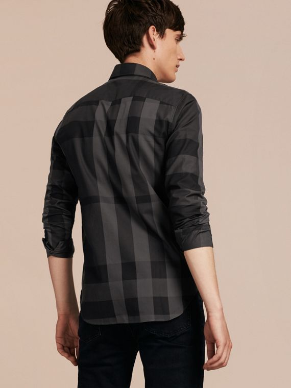Charcoal Check Cotton Shirt Charcoal - cell image 2