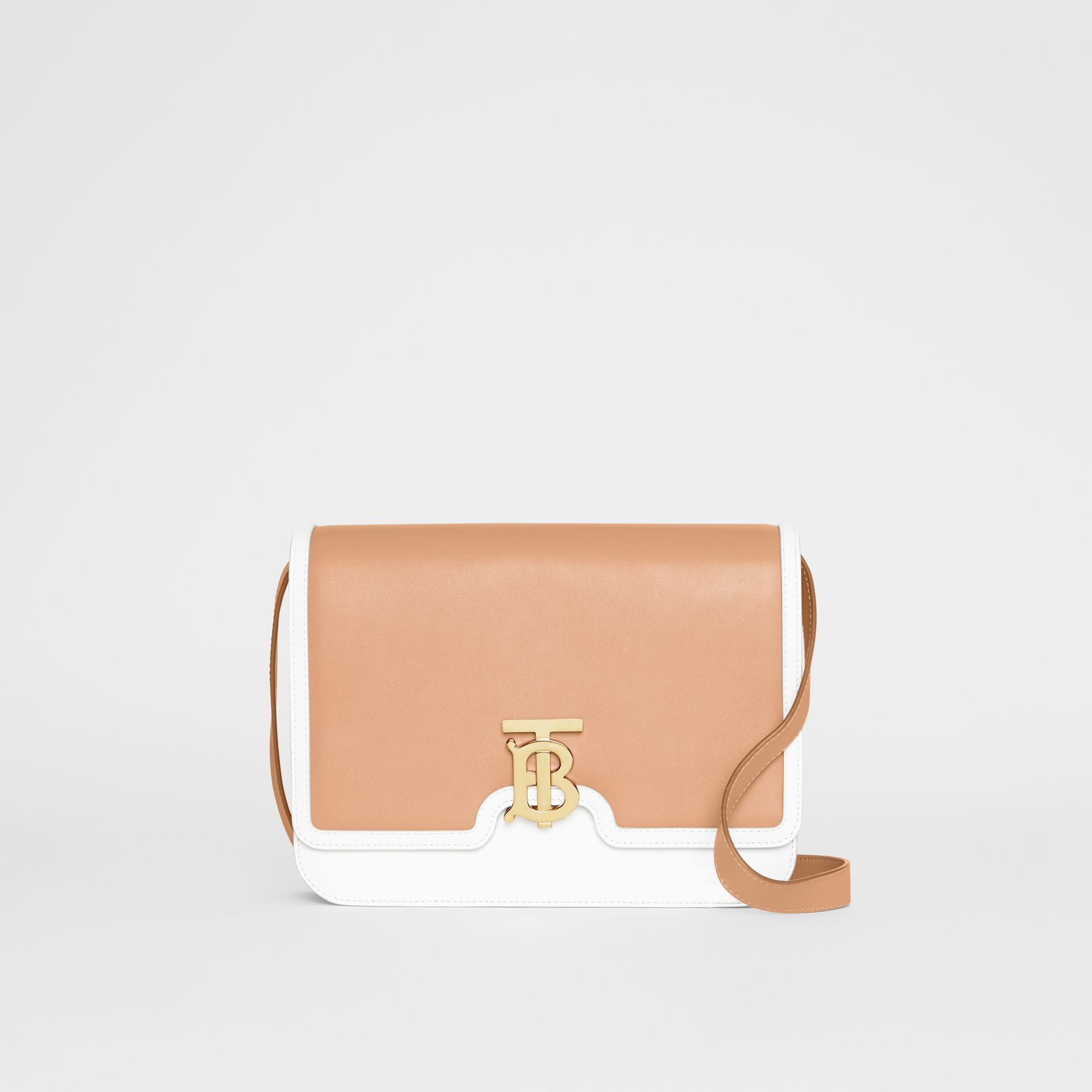 Medium Two-tone Leather TB Bag in Chalk White/light Camel - Women | Burberry - gallery image 0