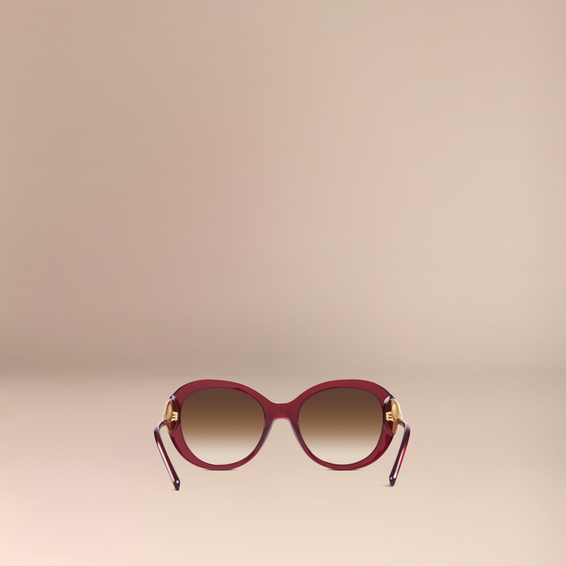 Oxblood Gabardine Collection Oversize Round Frame Sunglasses Oxblood - gallery image 4