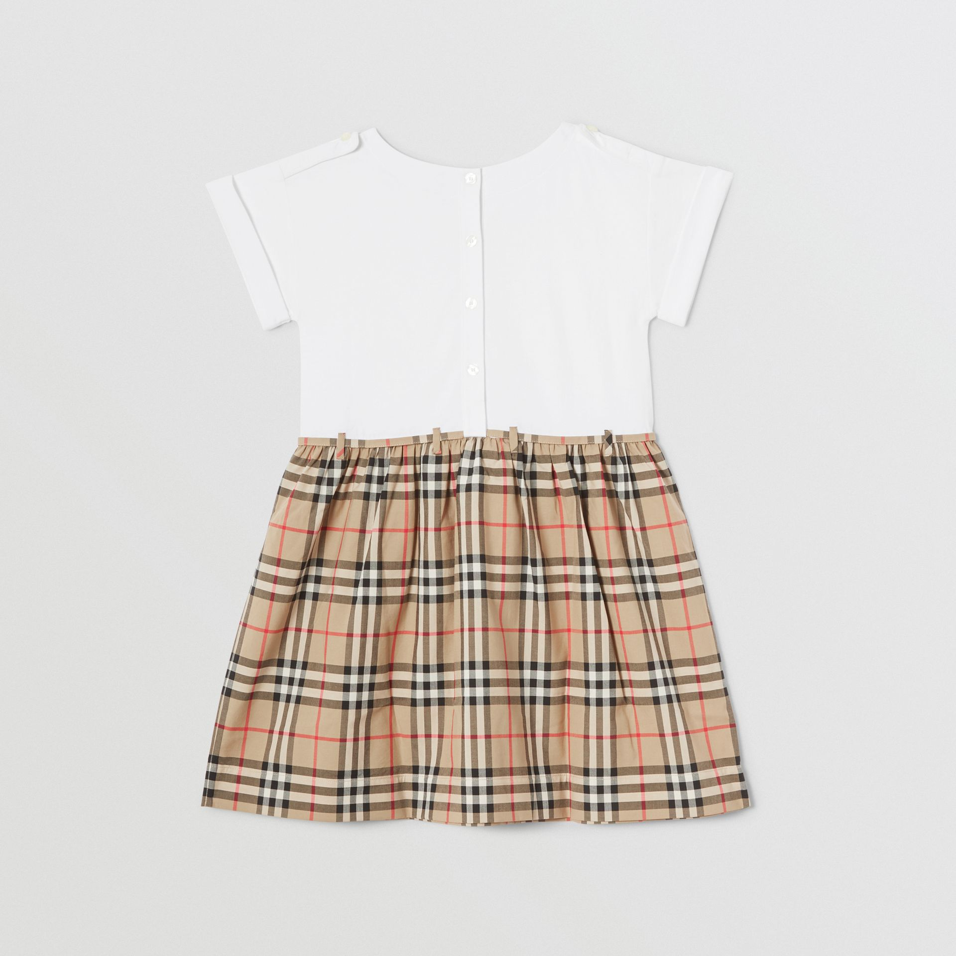 Vintage Check Detail Cotton Dress in White | Burberry - gallery image 3