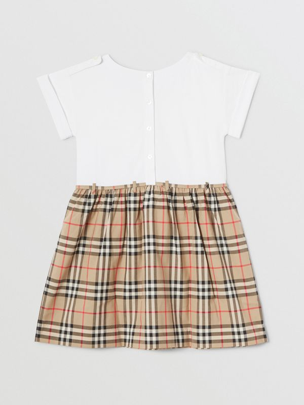 Vintage Check Detail Cotton Dress in White | Burberry - cell image 3