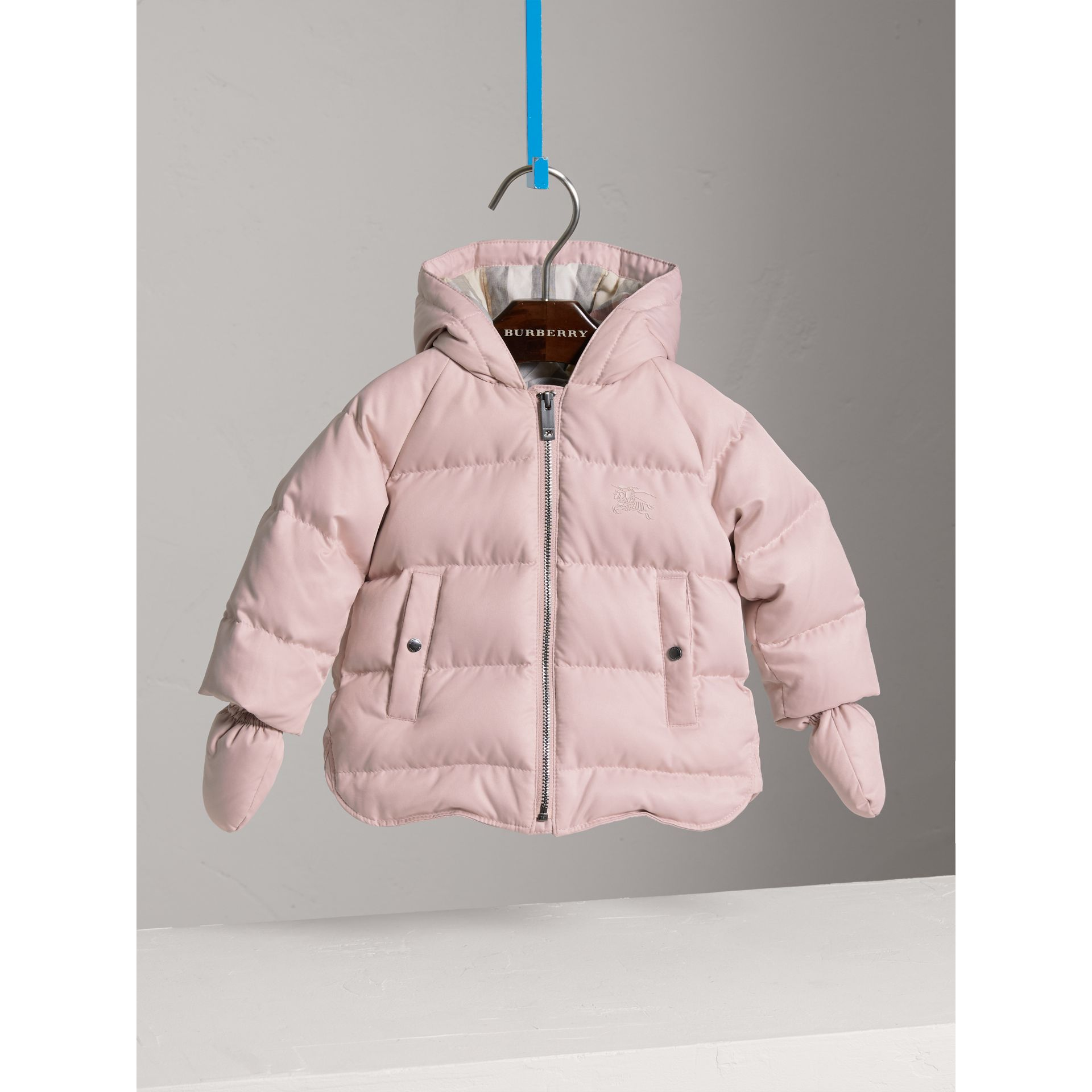 Hooded Down-filled Puffer Jacket with Mittens in Powder Pink | Burberry - gallery image 0
