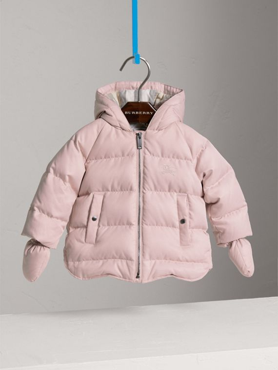 Hooded Down-filled Puffer Jacket with Mittens in Powder Pink