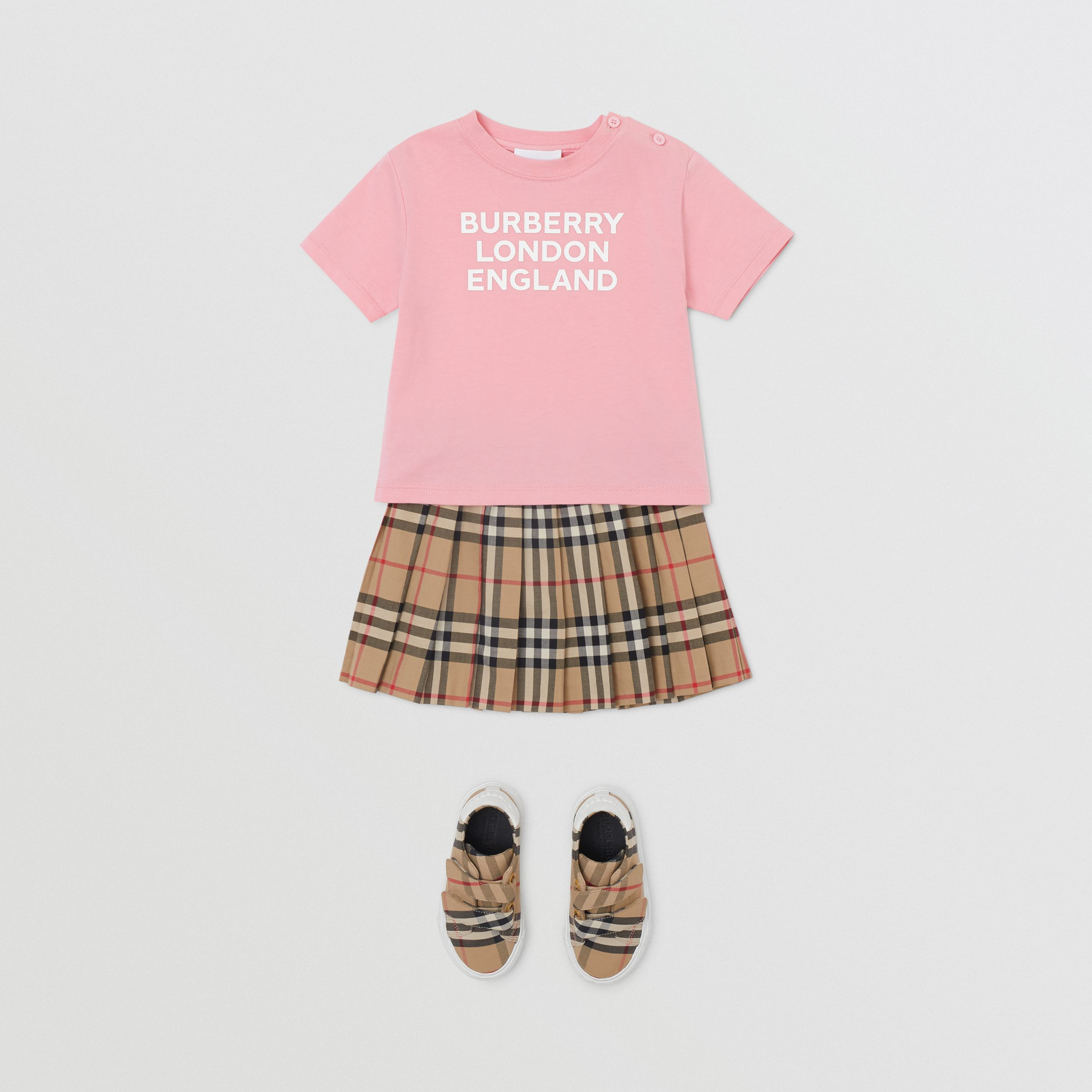 Logo Print Cotton T-shirt in Candy Pink - Children | Burberry - 3