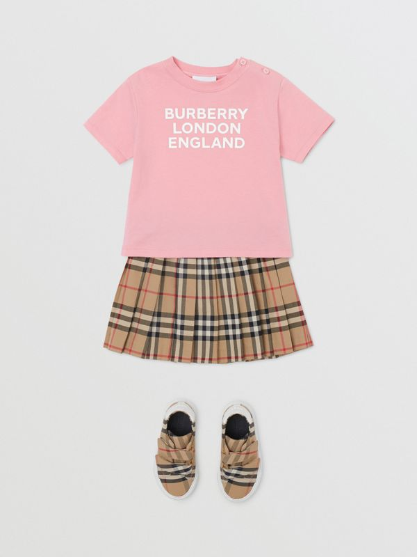 Logo Print Cotton T-shirt in Candy Pink - Children | Burberry - cell image 2