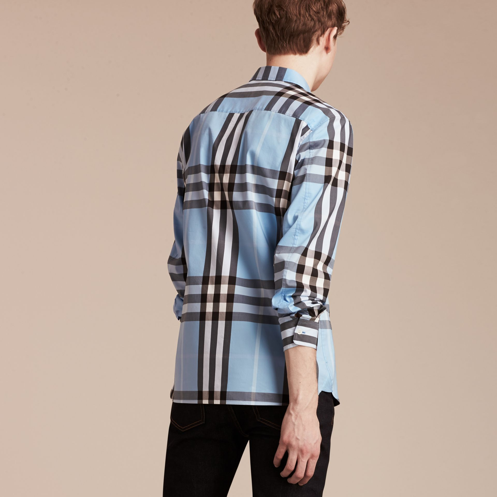 Light blue Check Stretch Cotton Shirt Light Blue - gallery image 2