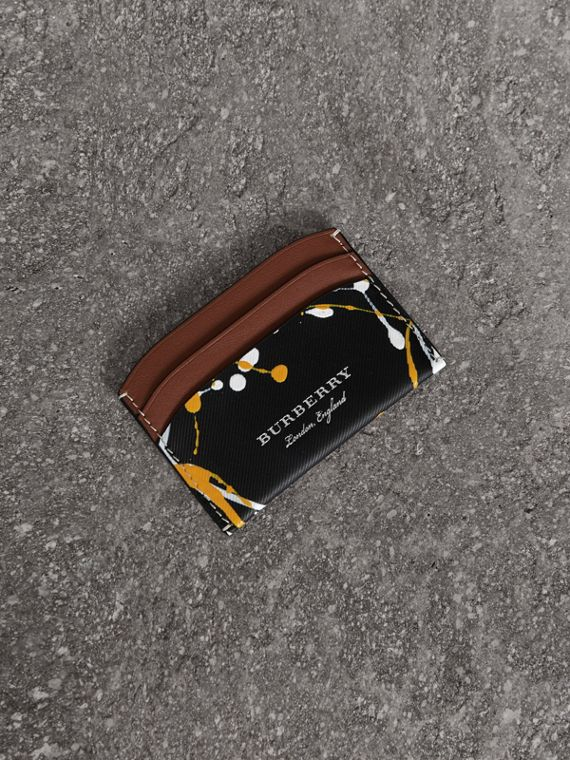 Splash Trench Leather Card Case in Black/tan
