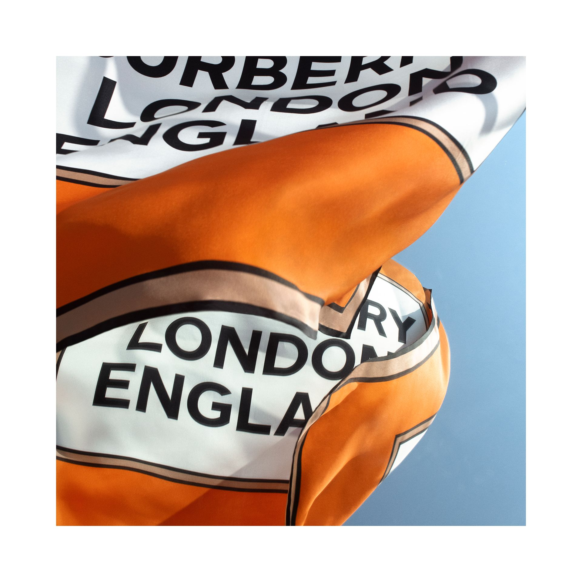 Logo Print Silk Square Scarf in Orange | Burberry - gallery image 1