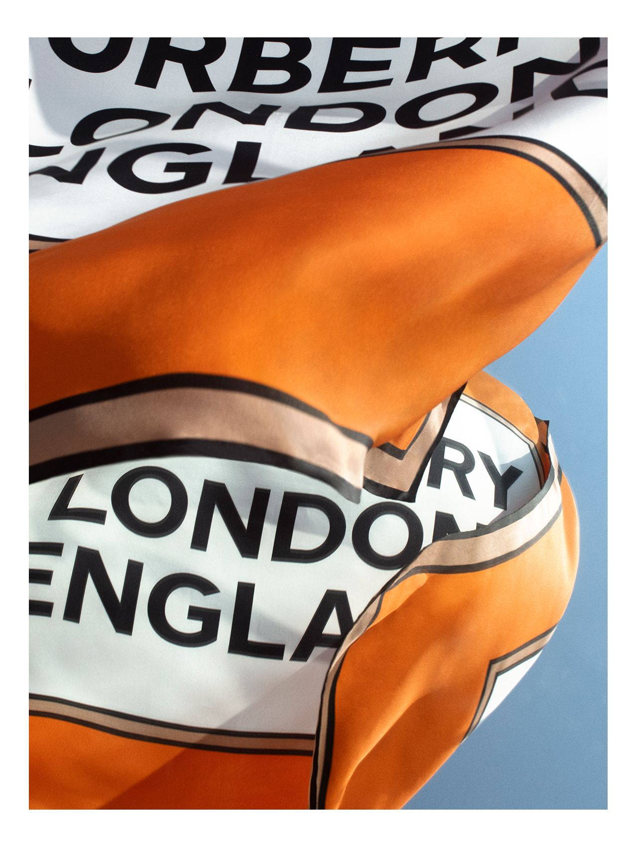 Logo Print Silk Square Scarf in Orange