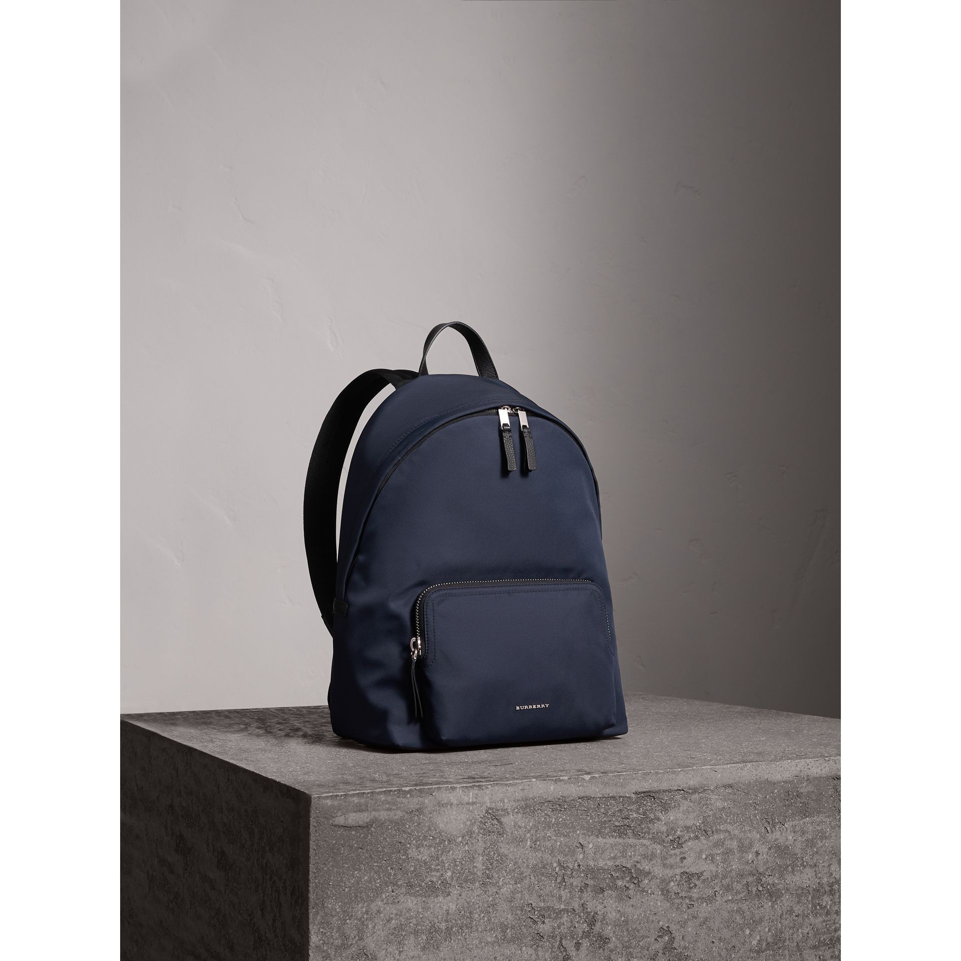 Leather Trim Nylon Backpack in Dark Navy - Men | Burberry United Kingdom - gallery image 7