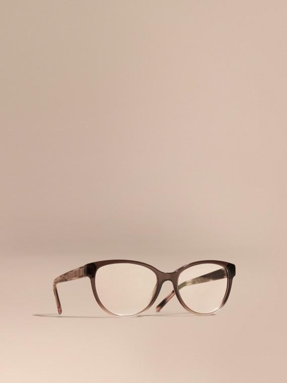 Óculos de grau com armação redonda e detalhe xadrez Carnation Melange
