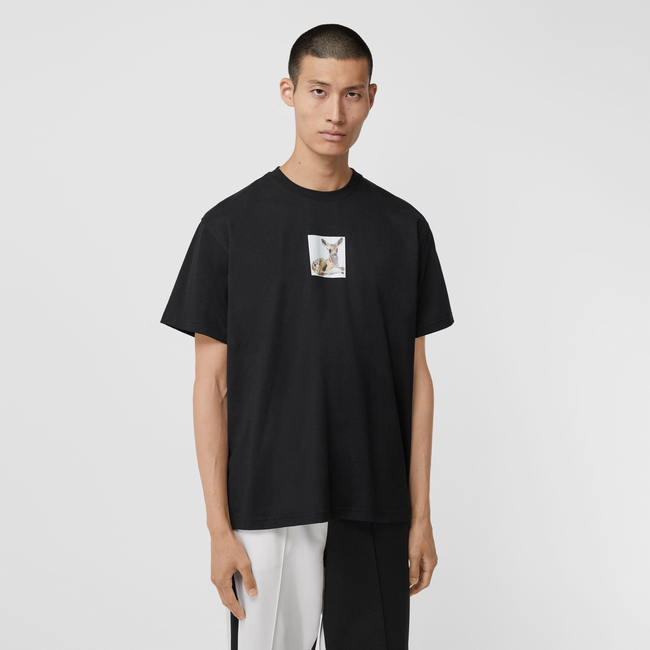 Deer Print Cotton Oversized T-shirt in Black - Men | Burberry - 1