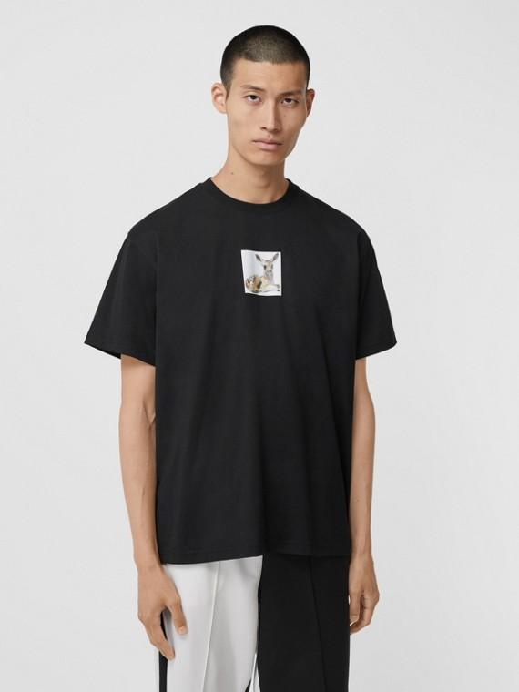 Deer Print Cotton Oversized T-shirt in Black