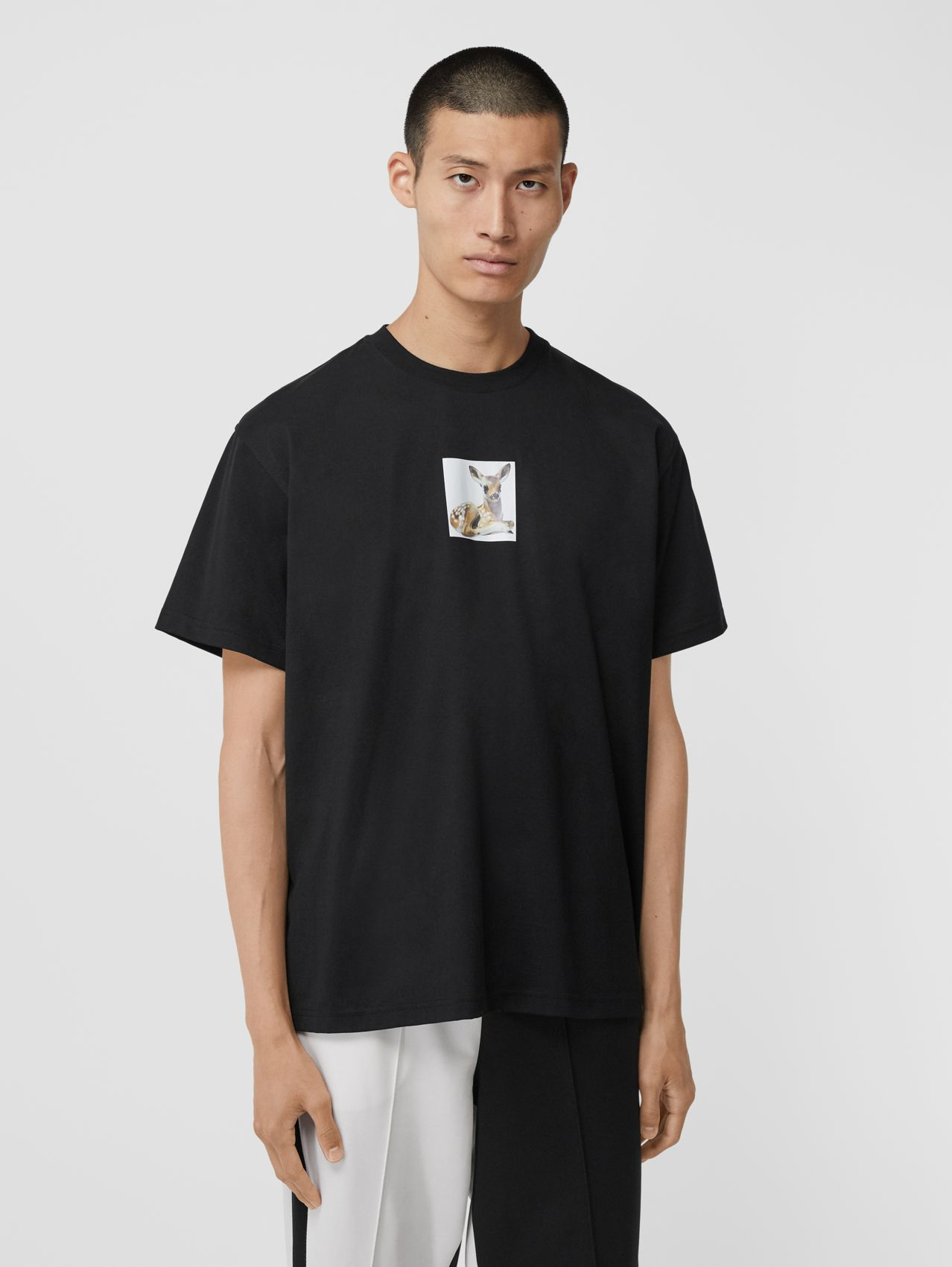 Deer Print Cotton Oversized T-shirt in Black