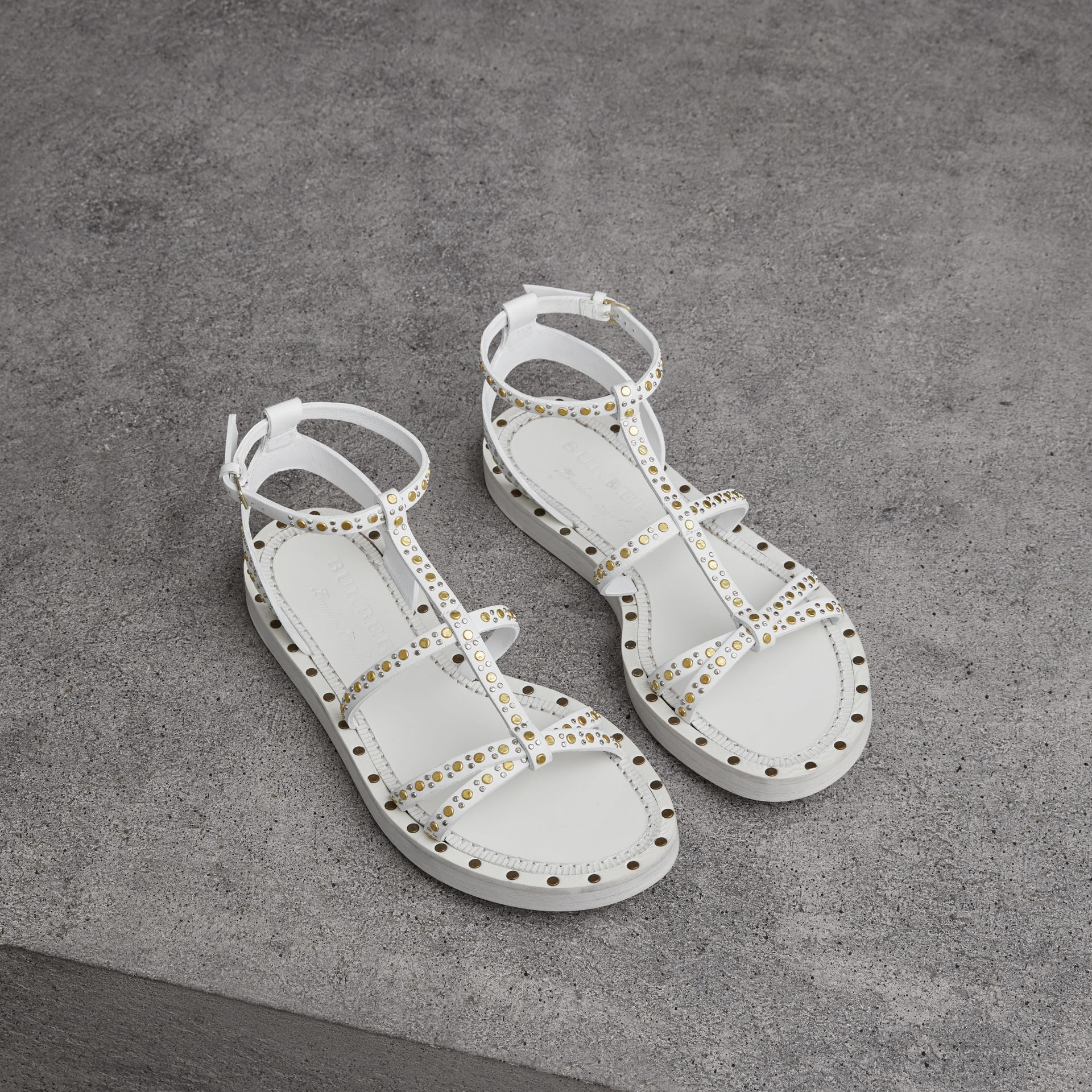 Riveted Leather Gladiator Sandals in Optic White - Women | Burberry - gallery image 0